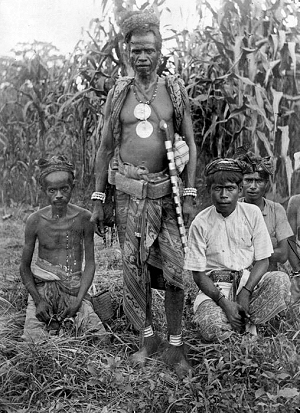 Atoni warriors wearing ikat waistcloths